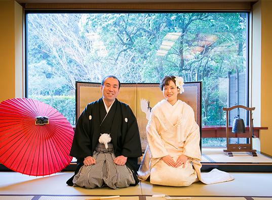 大山阿夫利神社での伝統ある結婚式 旅館での四季折々の<br/>お料理とサービスでおもてなし おふたりと大切な家族が絆で結ばれる<br/>アットホームな1日