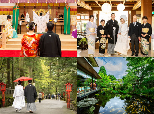 多くのカップルに愛されている箱根 人気の箱根で、1日2日の温泉旅行を兼ねた結婚式でゲストをおもてなし
